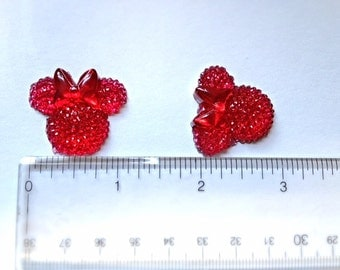 4 Red Glitter Minnie Mouse Head Wearing Bow Resin Flatback Cabochon Hair Bow Center
