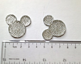 3 or 5 pc Silver Minnie or Mickey Mouse Head Rhinestone Resin Flat back Cabochon Hair Bow Center Craft Supply