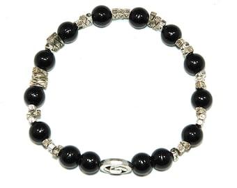 C-0168 - Black Agate Gemstone Bead Bracelet with Alloy Spacer Beads Handmade