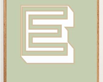 Mid-Century Modern Letter E