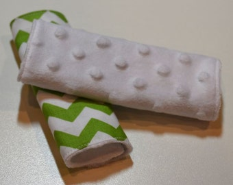 Car Seat Strap Covers - Green Chevron