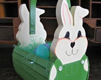 Personalized Handmade Wooden Children's Easter Bunny Basket or Table Centerpiece - Green - Ready to Ship