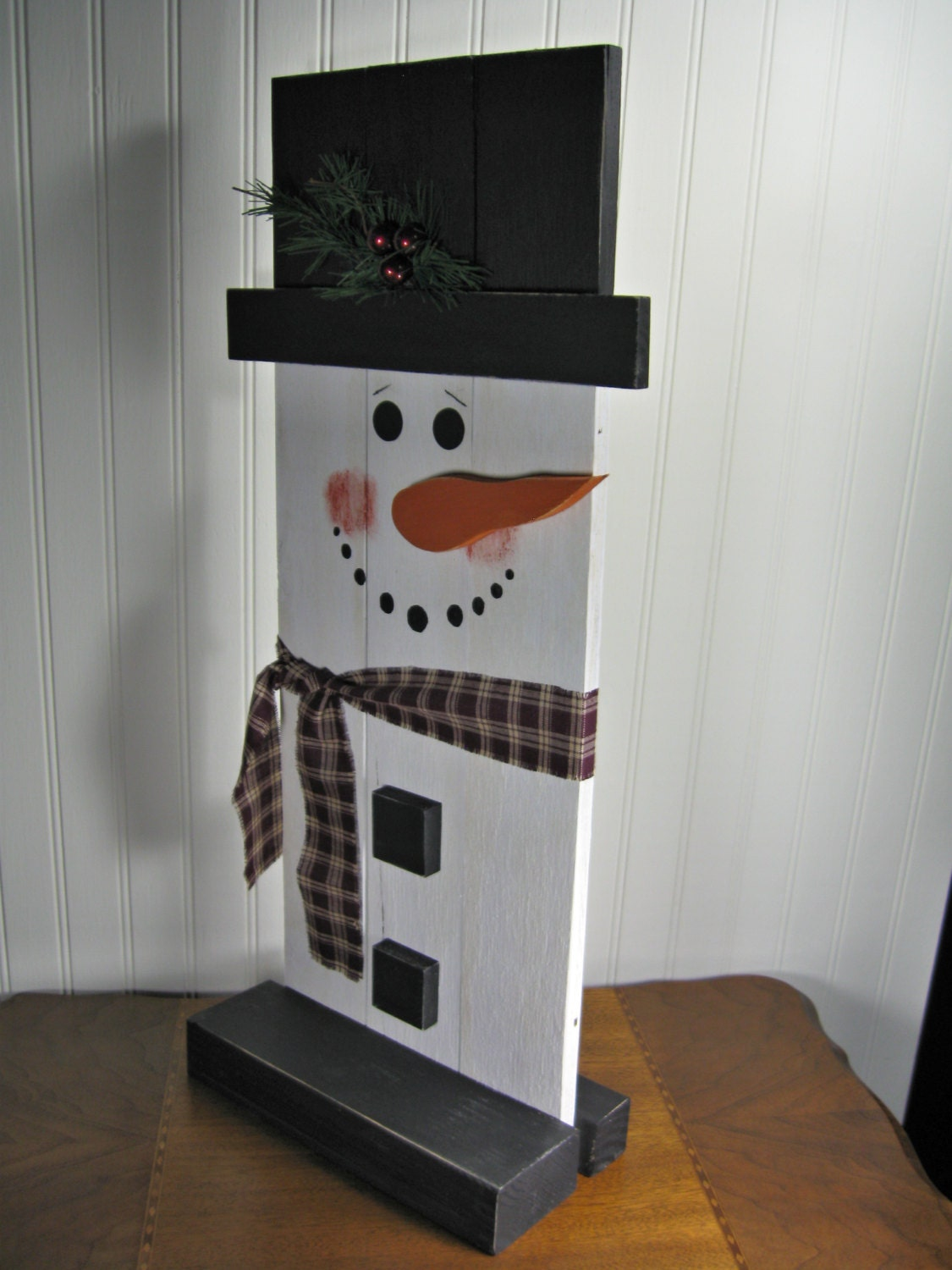 Stand-Up Wooden Snowman Christmas Decoration