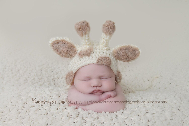 Baby Giraffe Hat Knitting Pattern : Giraffe Hat Newborn Baby Hat Knit Newborn Hat Crochet baby