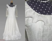 70s wedding dress, Boho wedding dress, Hippie wedding dress, Bridal gown dots