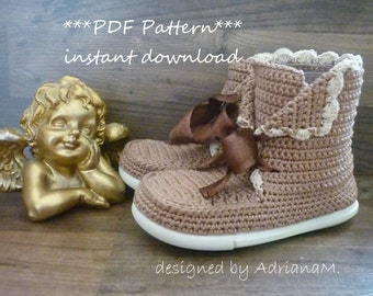Crochet pattern- outdoor boots for kids,all kids sizes,crochet boots with soles,street boots,toddler,girl,laced up,eco shoes,footwear