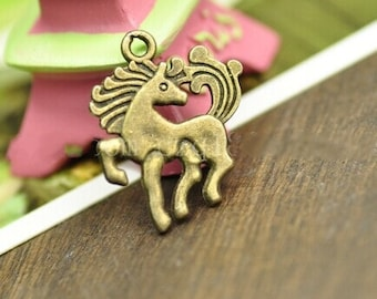 DIY  jewelry 50pcs antiqued bronze horse charm pendant running horse pendant 19×24mm