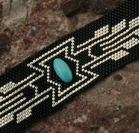 Turquoise Stone - Black - Silver - Peyote Beaded Bracelet - Beadwork Cuff - OOAK