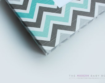 MODERN Baby Book // Teal and Grey Chevron Cover // baby book. baby keepsake. memory book. baby shower gift. newborn keepsake. personalized