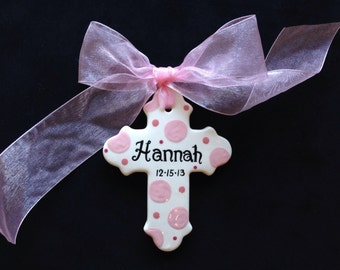 Hand painted Personalized Cross Ornament- Easter, Baptism, Christening or Baby Shower Gift