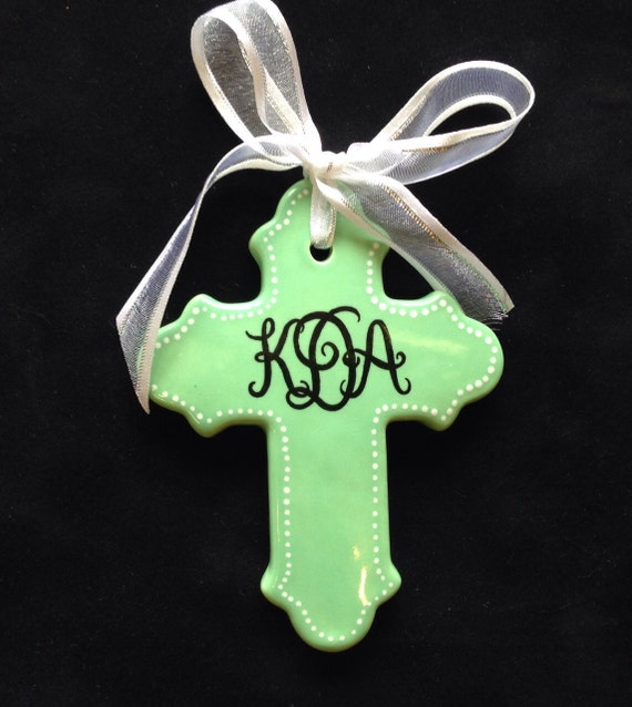 Personalized Baptism Cross Glass Ornament By Specialornaments: Hand Painted Personalized Cross Ornament Baptism Christening