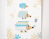Illustration Family hedgehogs, gray, green, blue and yellow.