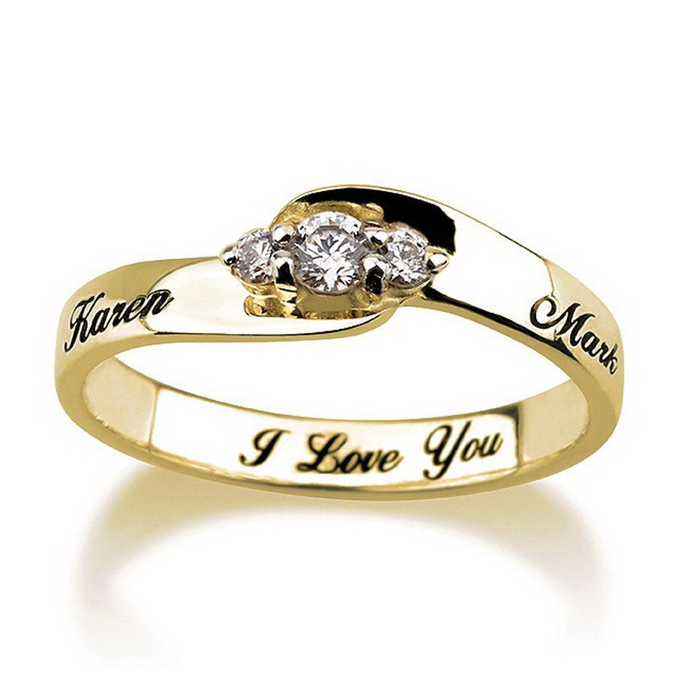 engraved engagement promise ring gold plated by mypersonalized. Black Bedroom Furniture Sets. Home Design Ideas