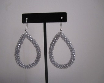 Silver Shimmer Teardrop Hoop Earrings