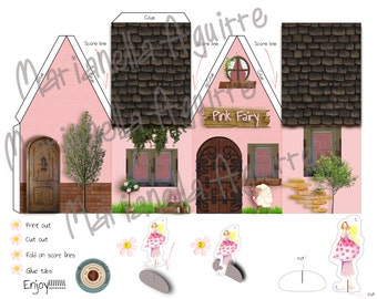 Pink Fairy house. DIGITAL PAPER HOUSE