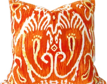 Designer Decorative Pillow Cover-Duralee Ikat Orange-Toss Pillow-Double Sided-Throw Pillow-Sofa Pillow-Pillow Cushion-Accent Pillow