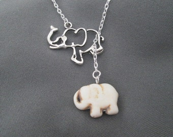 Off White Lucky Elephant Necklace - Lariat Style