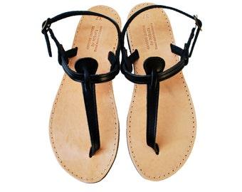 Black T Strap Leather Sandals, Barefoot Beach Women's Sandals