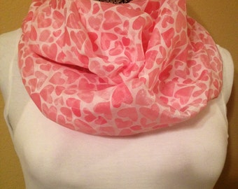White with Pink hearts infinity circle loop eternity scarf