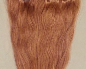 16 inches 7pcs Clip In Human Hair Extensions 27 Rose Gold