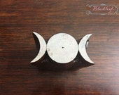Wood Block Printing Hand Carved Indian Wood Textile Block Stamp Celtic Triple Moon Pagan NeoPaganWiccan Goddess Symbol