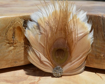 White, Cream, and Green Feather Hair Clip