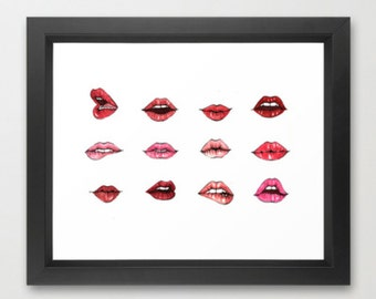Giclee print - Lips x Kisses 8 x10 red and pink watercolor kiss illustration