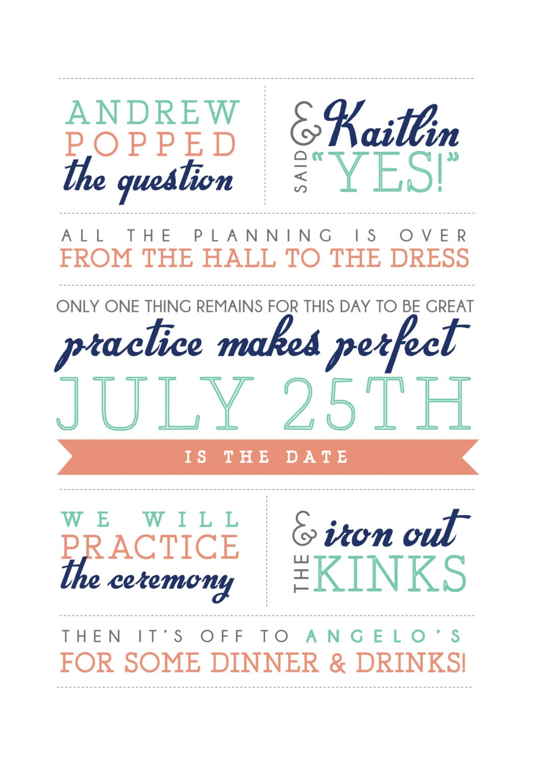 Printable rehearsal dinner invitation Practice makes perfect poem