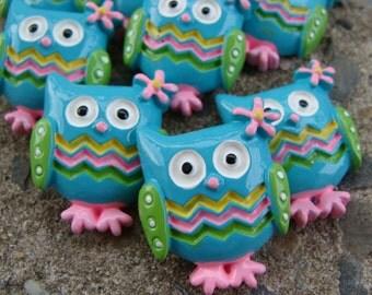 Chevron Owl Resin Hair Bow Resins blue and green Owl cabochon