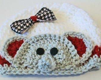 Adorable Crimson and White Elephant Hand Crocheted Baby and Childrens Hat Great Photo Prop 5 Sizes Available