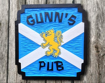 Personalize your Scottish Bar or Pub Sign - Custom Carved Scottish Flag