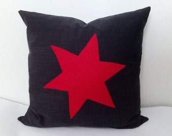Red star cushion,pillow cover on dark gray brushed stone wash cotton fabric, cover Home Decor Throw pillow Decorative pillow