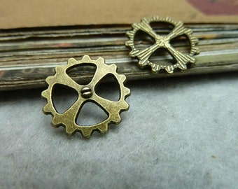 25pcs 14mm Antique Bronze Gear Watch movement Pendant