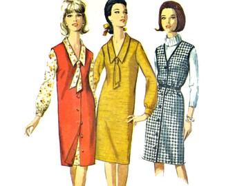 60s Vintage Dress Pattern Womens Jumper Pattern or Shift Dress Ascot Dress Pattern Simplicity 5659 Bust 32 Womens Sewing Patterns for Women