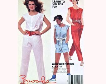 Vintage 80s Womens Jumpsuit Pattern / One Piece Jumpsuit / Jumpsuit Pants Pattern 1980s Brooke Shields McCalls 9447 Size XS