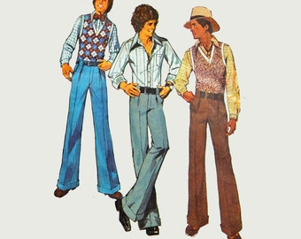 Vintage 70s Mens Sewing Patterns Mens Pants Pattern Simplicity 5881 SZ 36 Bell Bottom Pants Button Shirt & Vest Pattern Retro Mens Patterns