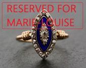 Reserved For Marie-Louise - Antique Diamond Ring - Victorian Diamond & Enamel Navette Rose Gold Ring