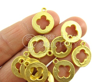 10 pc Cut Out Clover Disc Charms 22K Gold Plated Round Quatrefoil Clover Turkish Jewelry, Turkish Findings