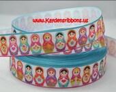3 yards Matryoshka Russian Nesting Dolls - 1  inch  - Printed Grosgrain Ribbon
