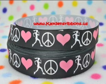 3 yards Love Peace Run Track - 7/8 inch  - Printed Grosgrain Ribbon