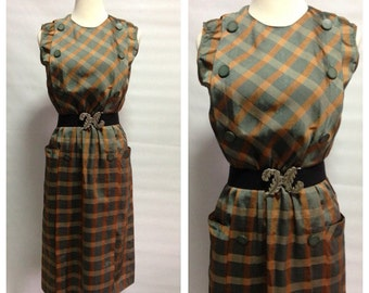 Vtg 70s Green Checkered Dress with side pocket/ medium