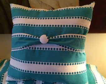 Turquoise and White Pillow