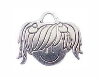 4 Silver Girl Charm Head Pendant 19x23mm by TIJC SP0293