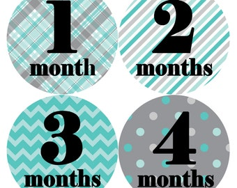 Baby Month Stickers, Baby Boy Gift, Milestone Stickers, Monthly Sticker, Monthly Baby Boy Stickers, Baby Bodysuit, Baby Shower Gift 086