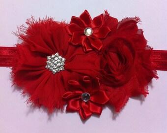Christmas headband/ sweetheart headband/ Red headband/ holiday headband/ baby headband/ shabby flower