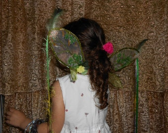 Faerie Wings Little Spring Green Garden with Feathers