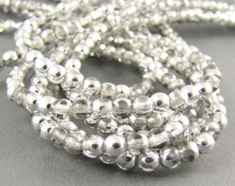 Silver Half Crystal 4mm Smooth Round Czech Glass  Beads 100pc #229