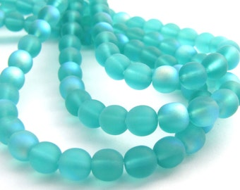 Matte Teal AB  6mm Smooth Round Czech Glass Beads 50pc #701