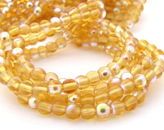 Med Topaz AB 4mm  Round Czech Glass  Beads 100pc #1527