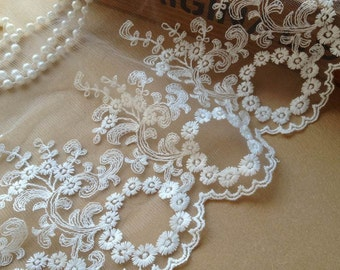 """Vintage White Circle Lace Embroidered Mesh Wedding Bridal Lace Trim 6.49"""" Wide 1  Yard"""